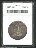 Reeded Edge Half Dollars: , 1837 50C MS62 ANACS. The 7 in the date is recut. Ruby-red ...