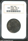 1837 50C MS63 NGC. The 7 in the date is sharply recut. Well struck except for star 6. Satiny luster shimmers beneath the...