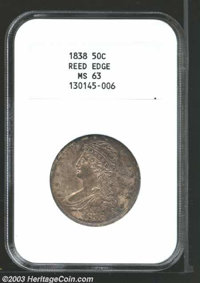 1838 50C MS63 NGC. Both sides are blanketed in a peppery mix of grey and rose toning. The strike is bold and satiny lust...
