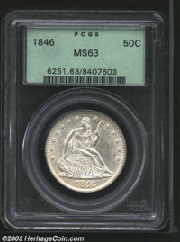 1846 50C Tall Date MS63 PCGS. WB-107, High R.7 in Mint State. The base of the 1 and 4 in the date is recut. An untoned a...