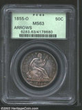 1855-O 50C Arrows MS63 PCGS. The lower right border of the second 5 in the date is recut. Honey-gold, navy-blue, and dov...