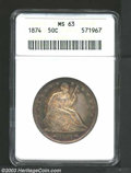 Seated Half Dollars: , 1874 50C Arrows MS63 ANACS. Lovely sea-green, golden-...