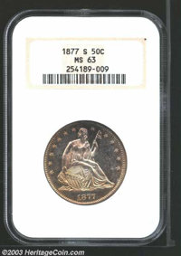 1877-S 50C MS63 NGC. A fantastic and flashy example with mildly reflective and extremely lustrous surfaces bathed in lig...