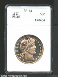 1897 50C PR63 ANACS. Fully struck with deeply mirrored fields, yellow-gold and antique-copper colors, with additional da...