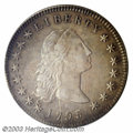 1795 $1 Flowing Hair, Three Leaves AU53 PCGS. B-12, BB-26, R.6. Die State III. This very rare die variety is most easily...