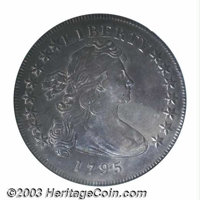 1795 $1 Draped Bust, Off Center XF40 PCGS. B-14, BB-51, R.1. Better defined than one would expect for the grade, the dev...