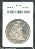 1846 $1 AU58 ANACS. A well struck and lightly toned representative that has considerable remaining luster and no distrac...