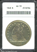 1848 $1 AU55 ANACS. A bright and satiny piece with luminous apricot color and a good strike. There are no conspicuous ha...