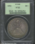 Seated Dollars: , 1859 $1 VF35 PCGS. Dark violet and gunmetal surfaces ...