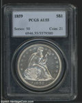 Seated Dollars: , 1859 $1 AU55 PCGS. Bright and sparkling with abundant ...