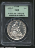 1860-O $1 MS60 PCGS. Extremely bright and flashy. The strike is a bit weak at the peripheries and many scattered marks a...