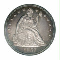 Proof Seated Dollars: , 1857 $1 PR63 Cameo PCGS. This specimen boasts an ...