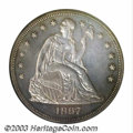 Proof Seated Dollars: , 1867 $1 PR63 PCGS. This example displays milky two-toned ...