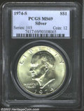 Eisenhower Dollars: , 1974-S $1 Silver MS69 PCGS. An amazing, nearly perfect ...