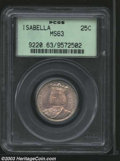 1893 25C Isabella Quarter MS63 PCGS. Much luster is seen below the light milky-pink toning that covers the obverse. The...
