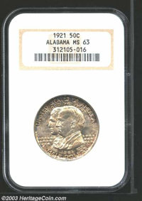 1921 50C Alabama MS63 NGC. A highly attractive Choice example with pink and champagne toning that turns a bit more drama...