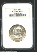 1921 50C Alabama 2x2 MS63 NGC. Lightly toned champagne with an average strike and a few scattered, minor marks. The lust...