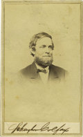 Photography:CDVs, Schuyler Colfax Signed Carte de Visite. 17th Vice President of the United States under Ulysses S. Grant. He was Speaker ...