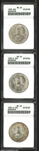 Commemorative Silver: , 1935 SET Arkansas PDS Set MS63 and MS65 ANACS. A set that ... (3 coins)