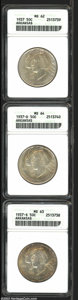 Commemorative Silver: , 1937 SET Arkansas PDS Set MS62, MS63, and MS64 ANACS. ... (3 coins)
