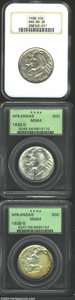 Commemorative Silver: , 1938 SET Arkansas PDS Set MS64 and MS65, PCGS and NGC. ... (3 coins)