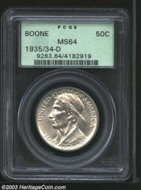 1935/34-D 50C Boone MS64 PCGS. The luster is satiny and the surfaces colored steel-grey on this Denver issue. A few ligh...
