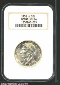 1938-S 50C Boone MS66 NGC. A bright, clean, and original example with a bit of golden color that clings to the edges and...