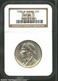 Commemorative Silver: , 1938-S 50C Boone MS66 NGC. Fully struck with pastel mauve ...