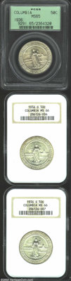 1936 SET Columbia PDS Set MS65 and MS66 PCGS. This set includes: 1936 MS65, satiny olive-gold surfaces with a few small...