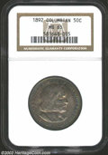 Commemorative Silver: , 1892 50C Columbian MS65 NGC. The obverse shows slightly ...