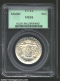 Commemorative Silver: , 1920 50C Maine MS65 PCGS. The obverse shows some dramatic ...