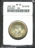 Commemorative Silver: , 1921 50C Missouri 2x4 MS63 ANACS. Violet and blue toning, ...