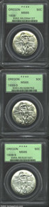 Commemorative Silver: , 1939 SET Oregon PDS Set MS65 PCGS. All three pieces of ... (3 coins)