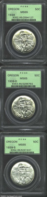 1939 SET Oregon PDS Set MS65 PCGS. All three pieces of this scarce, final year of issue show very light color and minima...