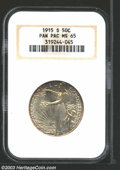 1915-S 50C Panama-Pacific MS65 NGC. Vibrant and lustrous, with a bit of golden tone at the edges. The strike is full and...