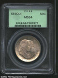 1926 50C Sesquicentennial MS64 PCGS. Lustrous, with some hazy patches of lilac obverse toning. A few scattered marks are...