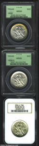 Commemorative Silver: , 1936 SET Texas PDS Set MS65 and MS66, PCGS and NGC. This ... (3 coins)
