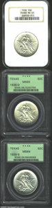 1938 SET Texas PDS Set MS64 and MS65 NGC, This set includes: 1938 MS65, satiny and mark-free, with a few charcoal-color...