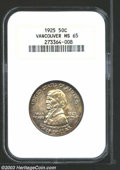 Commemorative Silver: , 1925 50C Vancouver MS65 NGC. Richly colored in golden ...