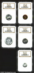 Certified Modern Proof Sets: , 1942 1C Cent PR62 Red NGC, mottled gold and ruby-red ... (5 coins)