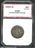 Additional Certified Coins: , 1918/7-S 25C Quarter AU55 Environmental Damage PCI (AU50 ...