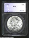 Additional Certified Coins: , 1887-O $1 Morgan Dollar MS65 (MS64) SEGS. Satiny and ...