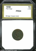 Additional Certified Coins: , 1858 P1C Indian Cent, Judd-208, Pollock-259, R.4, PR64 PCI (...