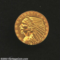 1911-D $2 1/2 MS60 Cleaned Uncertified. A few wispy hairlines do not reduce the beauty of the otherwise attractive and n...
