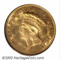 Three Dollar Gold Pieces: , 1874 $3 MS65 PCGS. A lustrous and carefully preserved Gem ...