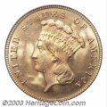 Three Dollar Gold Pieces: , 1882 $3 MS66 PCGS. This coin is typically well struck for ...