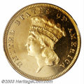 Proof Three Dollar Gold Pieces: , 1873 $3 Open 3 PR65 Deep Cameo PCGS. The 1996 Early ...