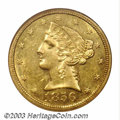 Liberty Half Eagles: , 1856-O $5 MS61 NGC. The New Orleans Mint produced only 10,...