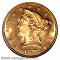 Liberty Half Eagles: , 1876 $5 MS65 PCGS. When this coin was last sold as lot ...
