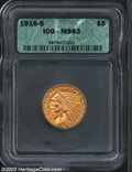 Indian Half Eagles: , 1916-S $5 MS63 ICG. A nicely struck representative that ...